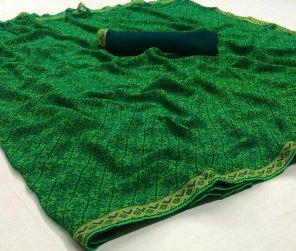 green georgette fabric print work casual