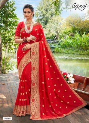 red vichitra silk  fabric butta bored work wedding