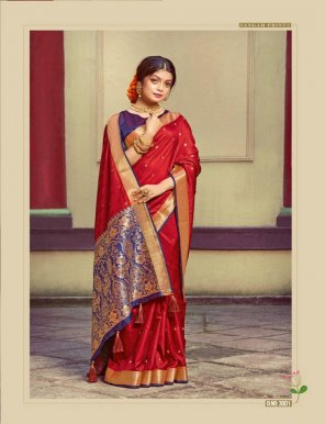 red handloom silk fabric weaving work wedding