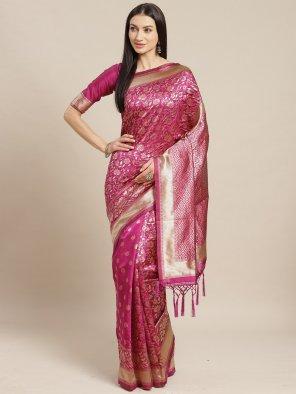 hot pink silk fabric weaving work festival