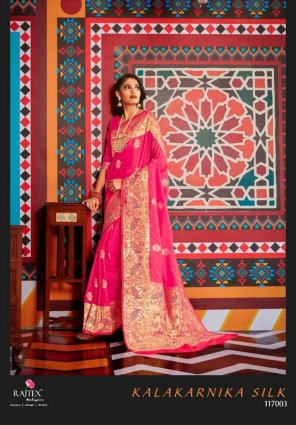 hot pink pure paithani fabric weaving work wedding