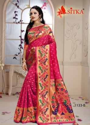 rani cotton silk fabric weaving work wedding