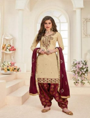 cream jaam cotton fabric embroidery work casual