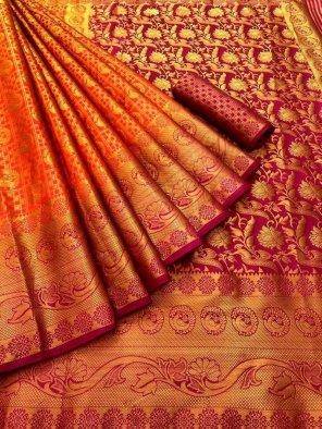red pure banarasi soft silk fabric weaving work festival
