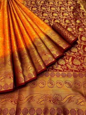 orange pure banarasi soft silk fabric weaving work festival