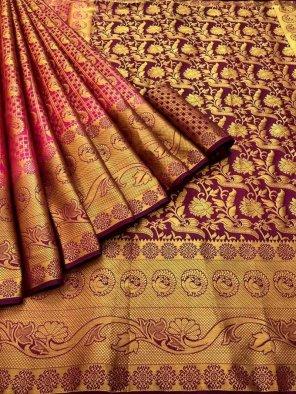 rani pink pure banarasi soft silk fabric weaving work festival
