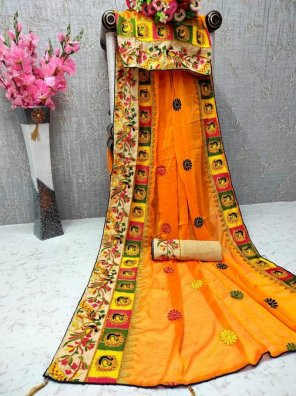 fire yellow chiffon fabric embroidery work festival