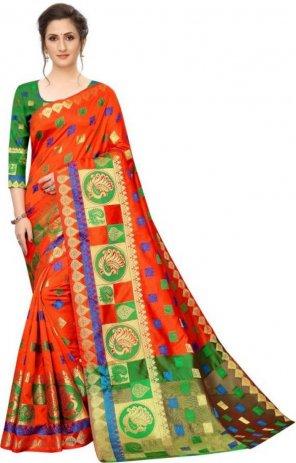 orange lichi silk fabric weaving work casual