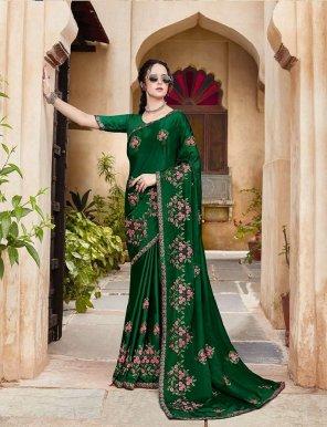 green vichirta silk fabric embroidery work festival