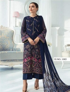 navy blue georgette fabric heavy embroidery work festival