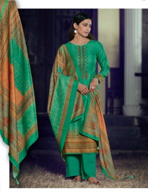 bottal green pashmina  fabric digital print with embroidery work casual