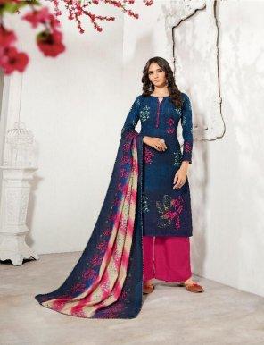 navy blue pashmina fabric print work casual