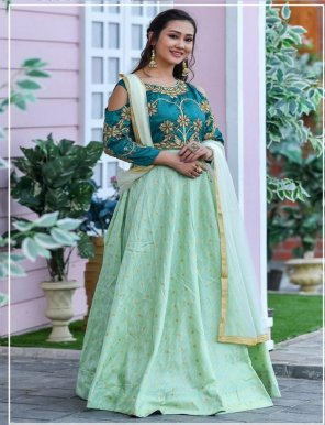 mint chennai silk fabric embroidery with handwork work wedding
