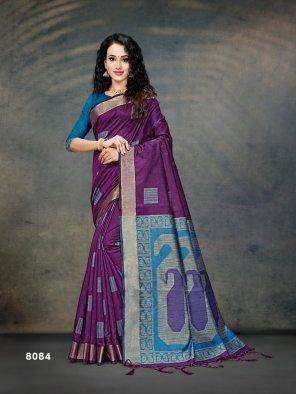 magenta cotton silk fabric printed work casual