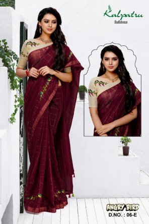 maroon cotton flax linen fabric embroidery work festival