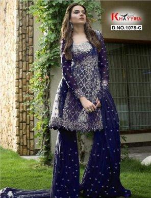 navy blue butterfly net fabric heavy embroidery work wedding