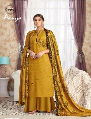 mustard yellow pure wool pashmina fabric digital print work casual
