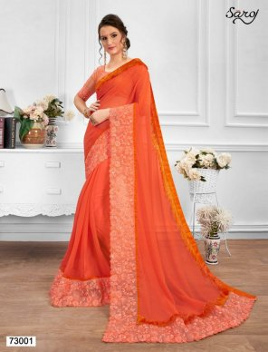 orange chiffon fabric embroidery work festival