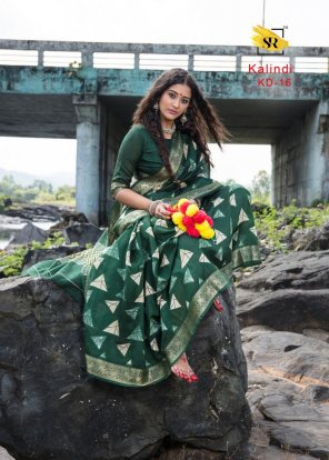 green soft cotton with jacquard fabric print work festival