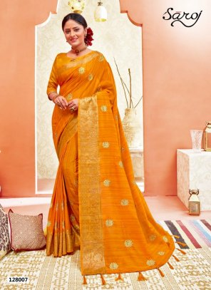 meri gold yellow silk with vichitra fabric weaving work festival