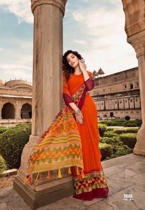 orange chiffon fabric printed work casual