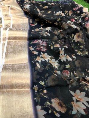black jacquard silk fabric printed work party