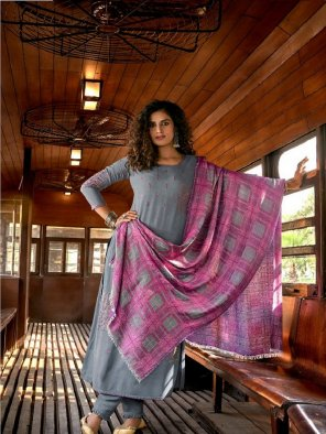 dusty sky pure pashmina fabric fancy embroidery work festival