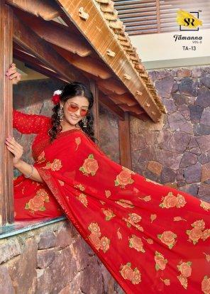 red georgette fabric siroski border work festival