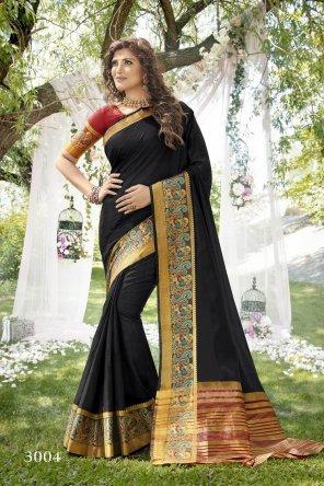 black khadi silk fabric heavy border work festival