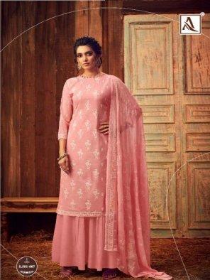 baby pink pure lawn cotton fabric khatli hand  work festival