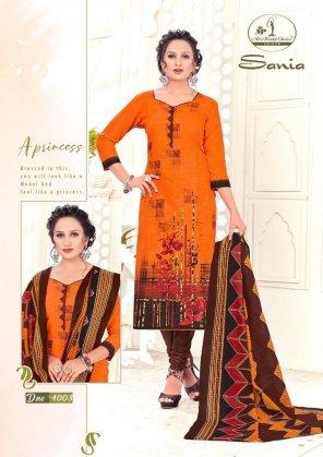 orange cotton fabric print work casual
