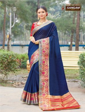 navy blue handloom silk fabric heavy border work wedding