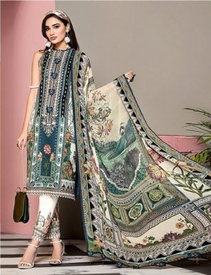 multi cambric cotton fabric digital print with embroidery work casual