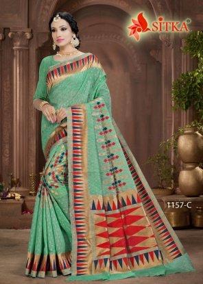 mint green cotton silk fabric weaving work festival