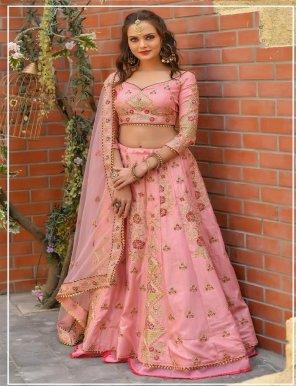 baby pink butter fly net fabric resham, zari,doriwork work wedding