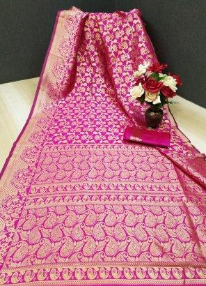 rani pink silk fabric weaving work festival