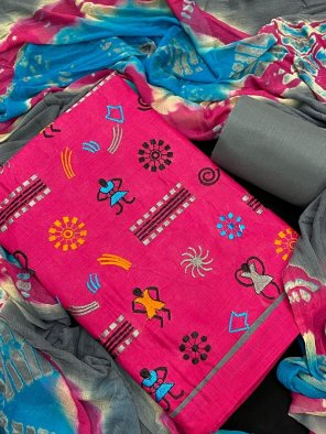 hot pink cotton fabric embroidery work casual