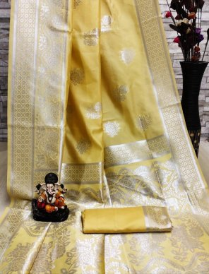honey yellow cotton silk fabric weaving  work festival