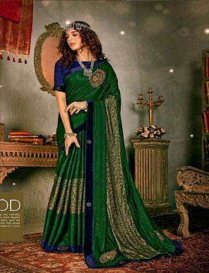 green vichitra silk fabric patch embroidery with velvet border work wedding
