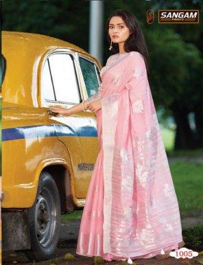 rose pink linen cotton fabric weaving  work festival