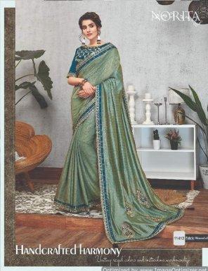 olive silk and georgette fabric heavy border  work wedding