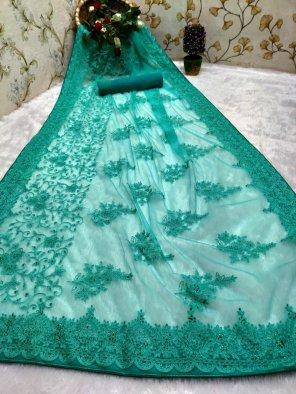 rama nylon net fabric embroidery work festival