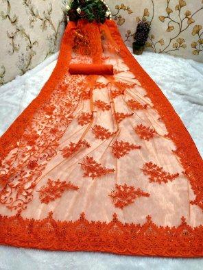 orange nylon net fabric embroidery work festival