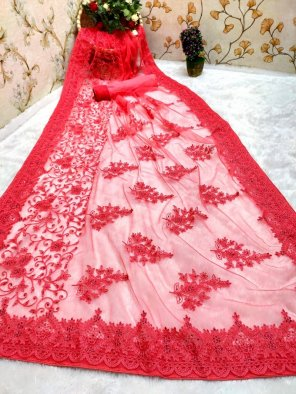 punch pink nylon net fabric embroidery work festival
