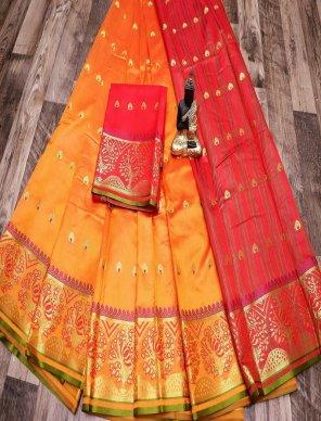 merigold yellow silk fabric weaving work wedding