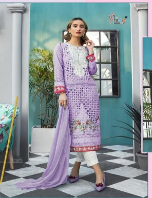 purple cotton fabric heavy sifly embroidery work festival
