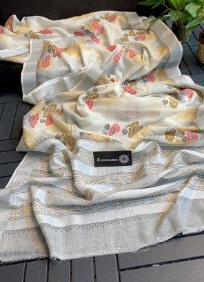 white linen silk fabric allover print work casual