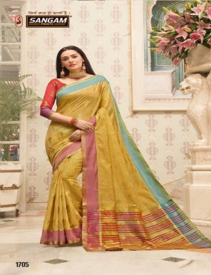 honey yellow handloom cotton fabric weaving work festival