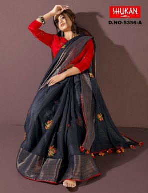 charcoal linen cotton fabric embroidery  work party