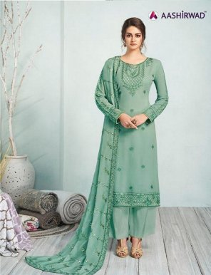 mint real georgette fabric sequence  work festival